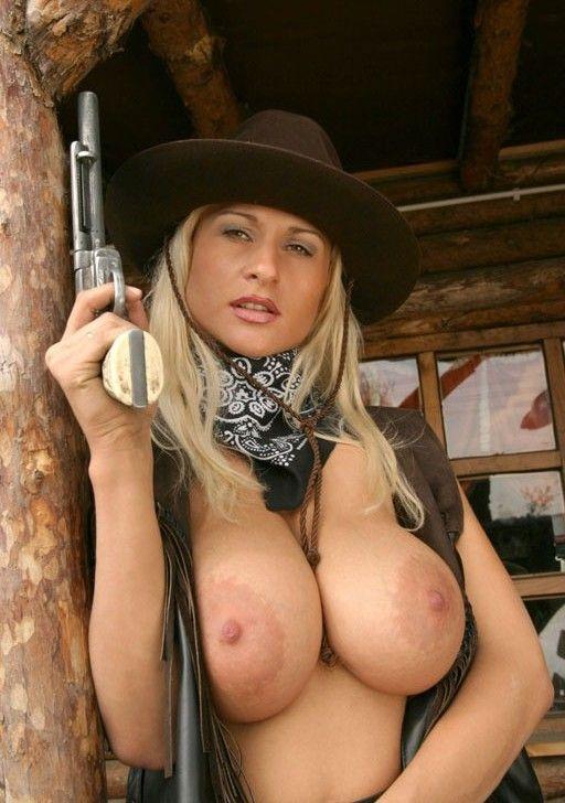 Girls nude holding guns-8412