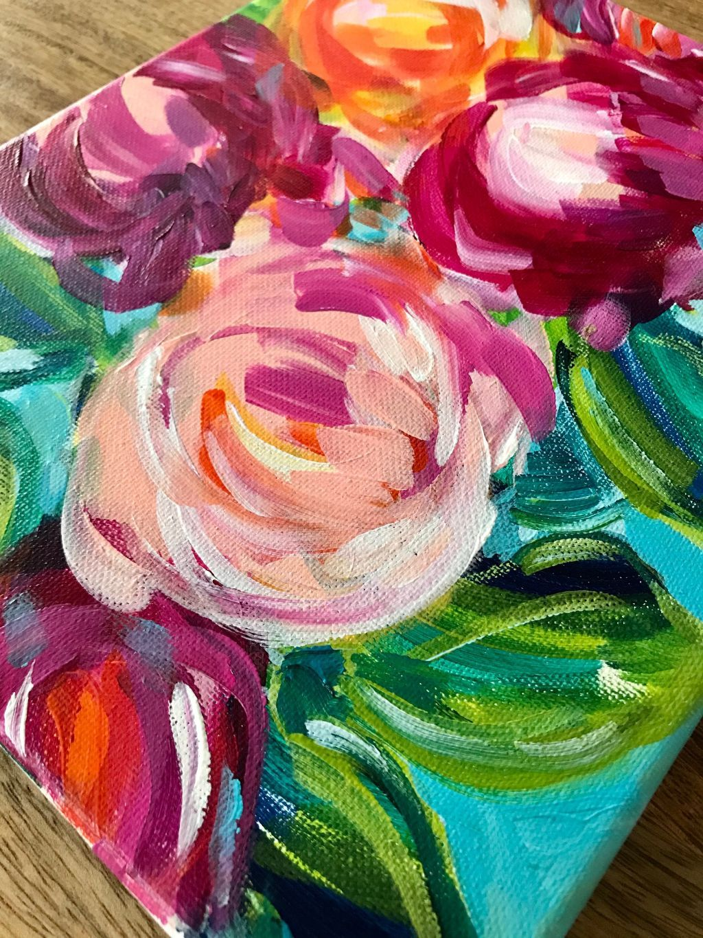 Abstract Flowers With Acrylic Paint