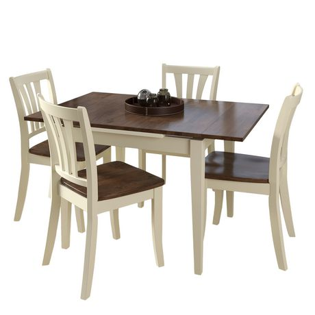 Corliving Dillon 5 Piece Extending Rectangular Cream And Dark Brown Wood Dining Set Cream Dark Brown Solid Wood Dining Set Solid Wood Dining Chairs Dining Table