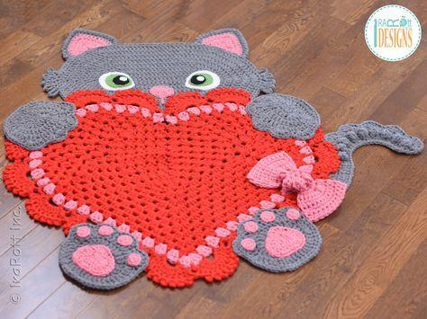 Crochet padrão PDF para fazer um bonito Sassy o gato gatinho com tapete coração ou tapete de leitura usando a técnica quadrado avó por IraRott
