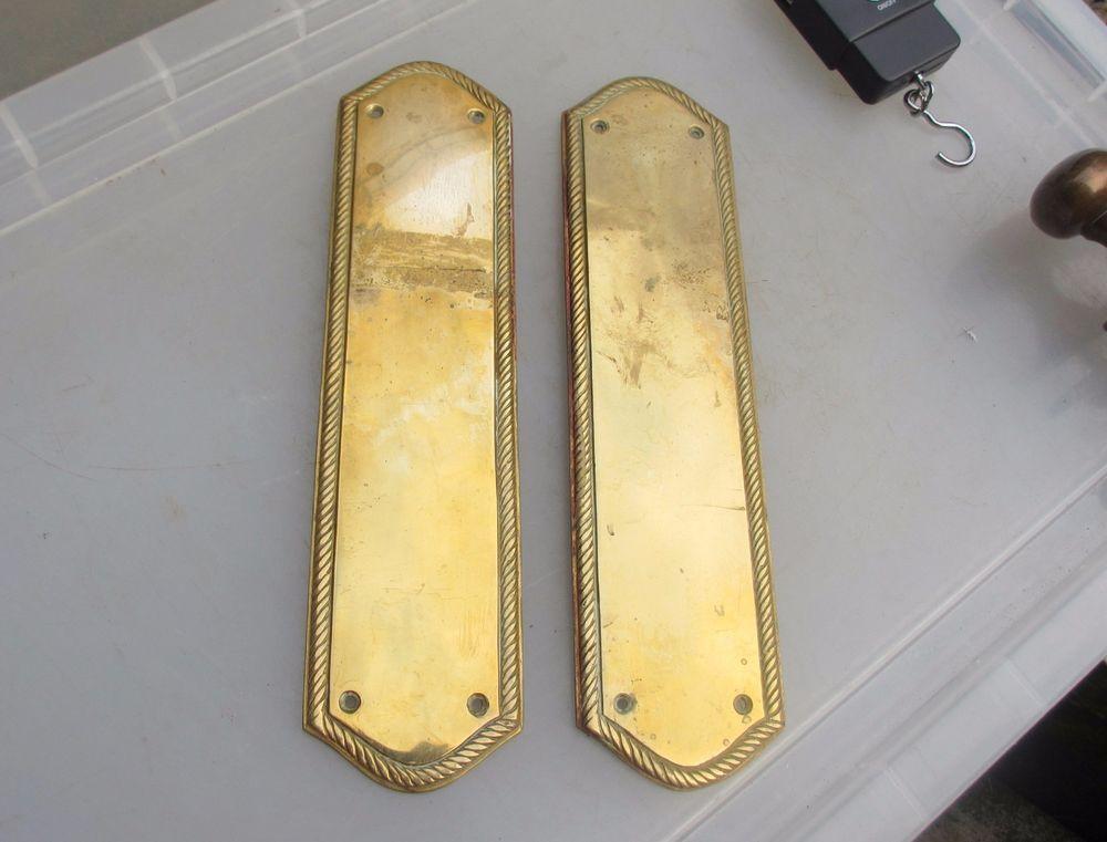 Vintage Brass Finger Plates Push Door Handle Rope Edge Architectural Antique Old #ArtNouveau