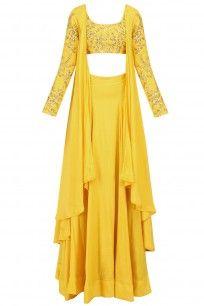 133338c1d786 Mustard Yellow Embroidered Drape Crop Top and Lehenga Skirt Set ...