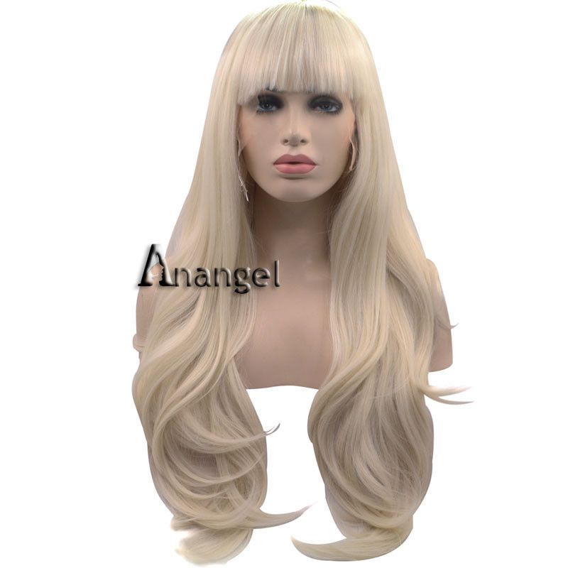 Anogol Synthetic Hair Platinum Blonde Lace Front Wig With Bangs Lonng Wavy Wigs Health Beauty Hair Blonde Lace Front Wigs Wigs With Bangs Lace Front Wigs