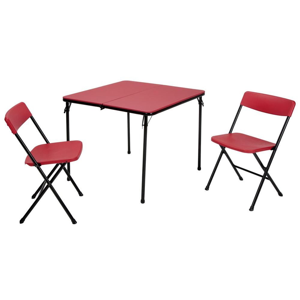 Cosco 3 Piece Black Fold In Half Folding Table Set 37334blk1e