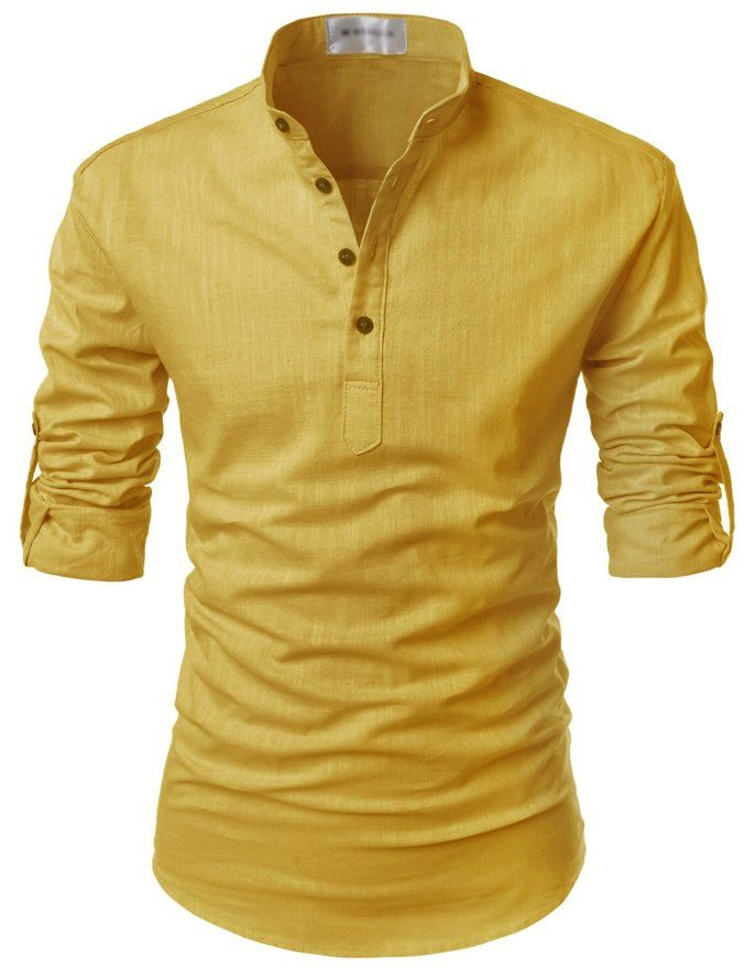 bf49957cf2 Nearkin (NKNKN350) Beloved Men Henley Neck Long Sleeve Daily Look Linen  Shirts MUSTARD US XL(Tag size XL)