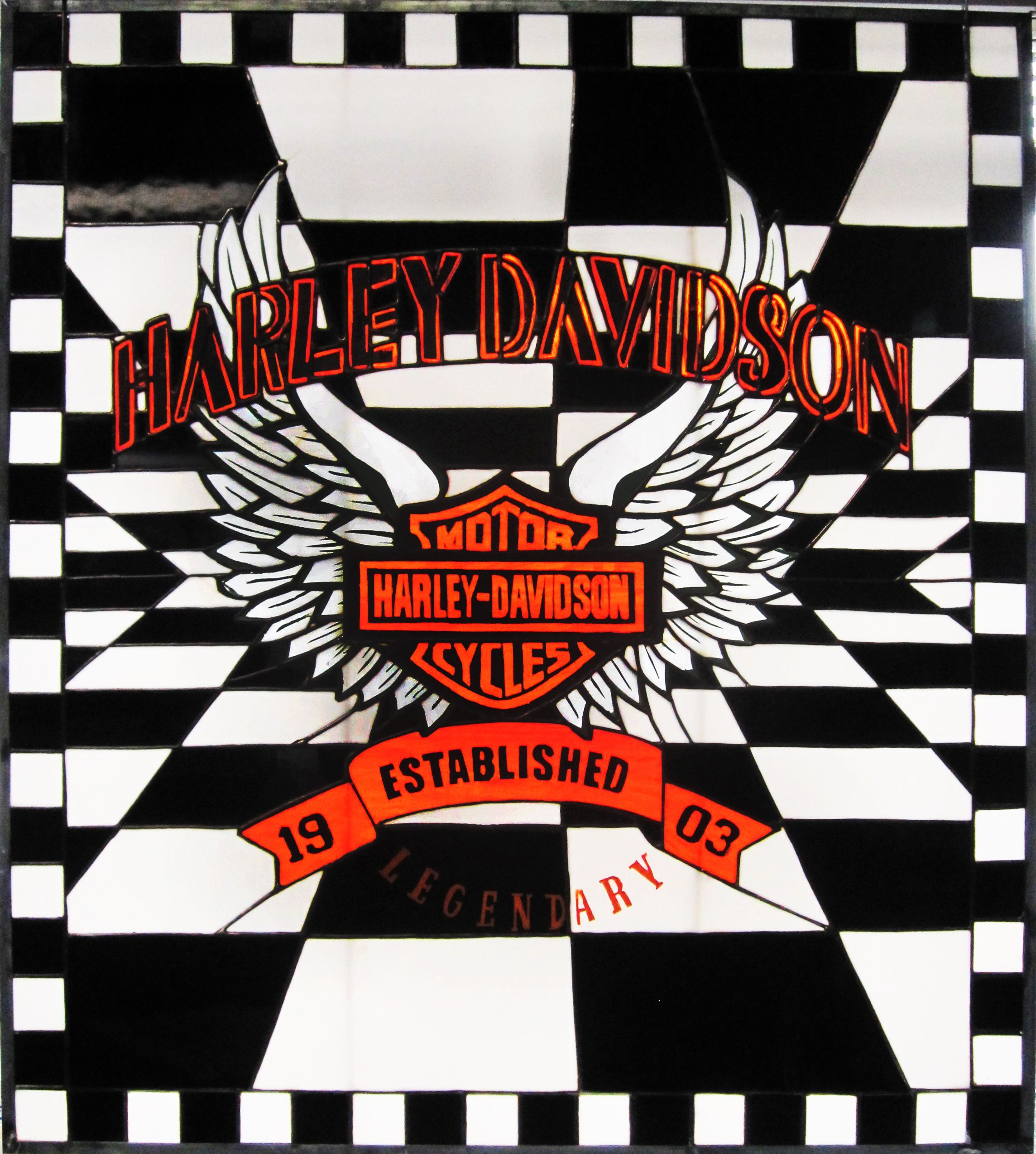 Stained Glass Panel - Harley Davidson Logo