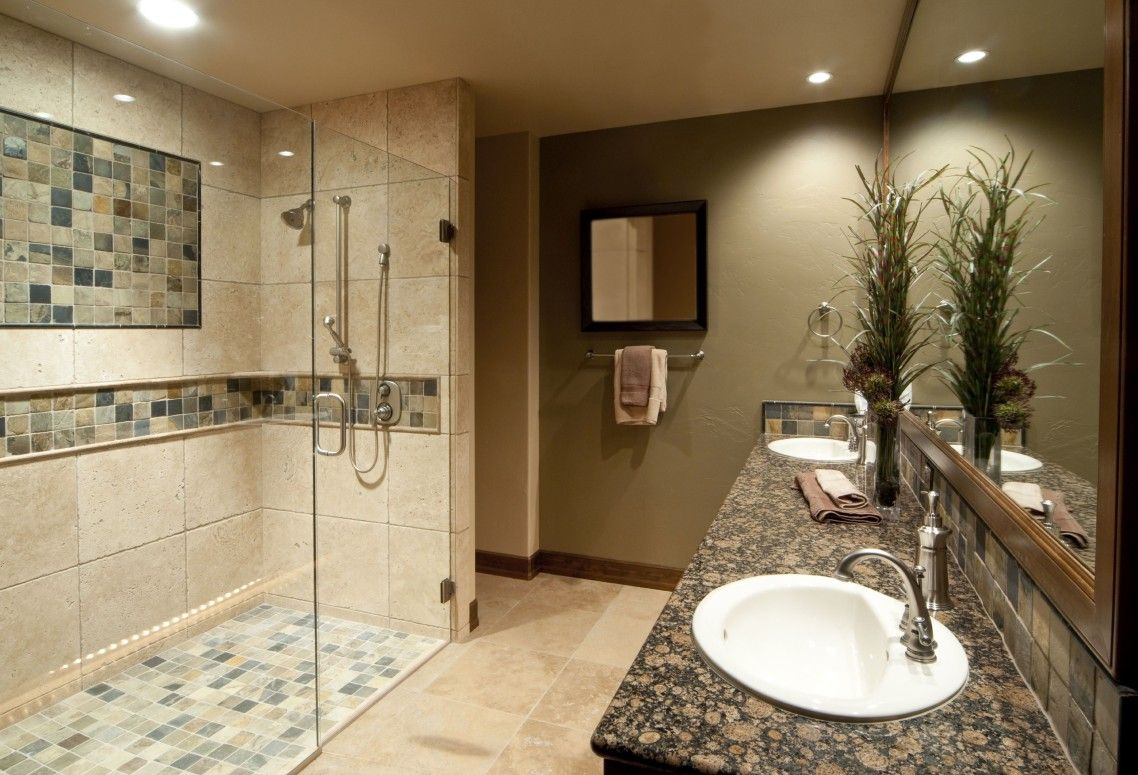 Merveilleux Light Brown Marble Shower Room Wall Panel Combined With Assorted Color  Glass Mosaic Added Planted Ceiling