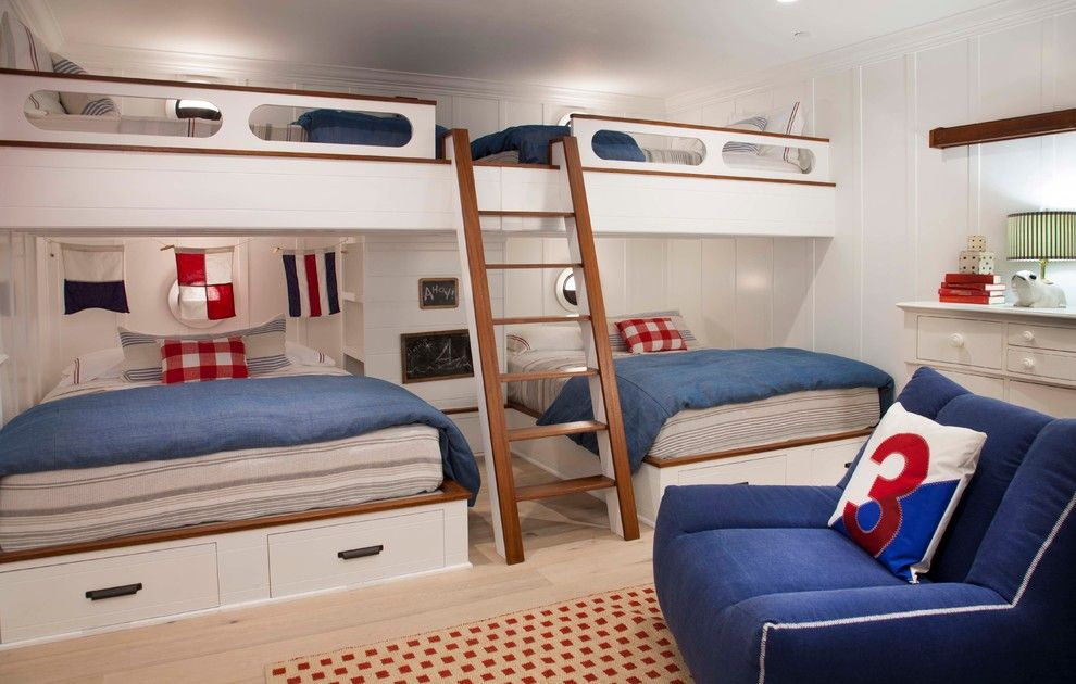Twin Over Full Bunk Bed With Stairs Kids Beach With Bed