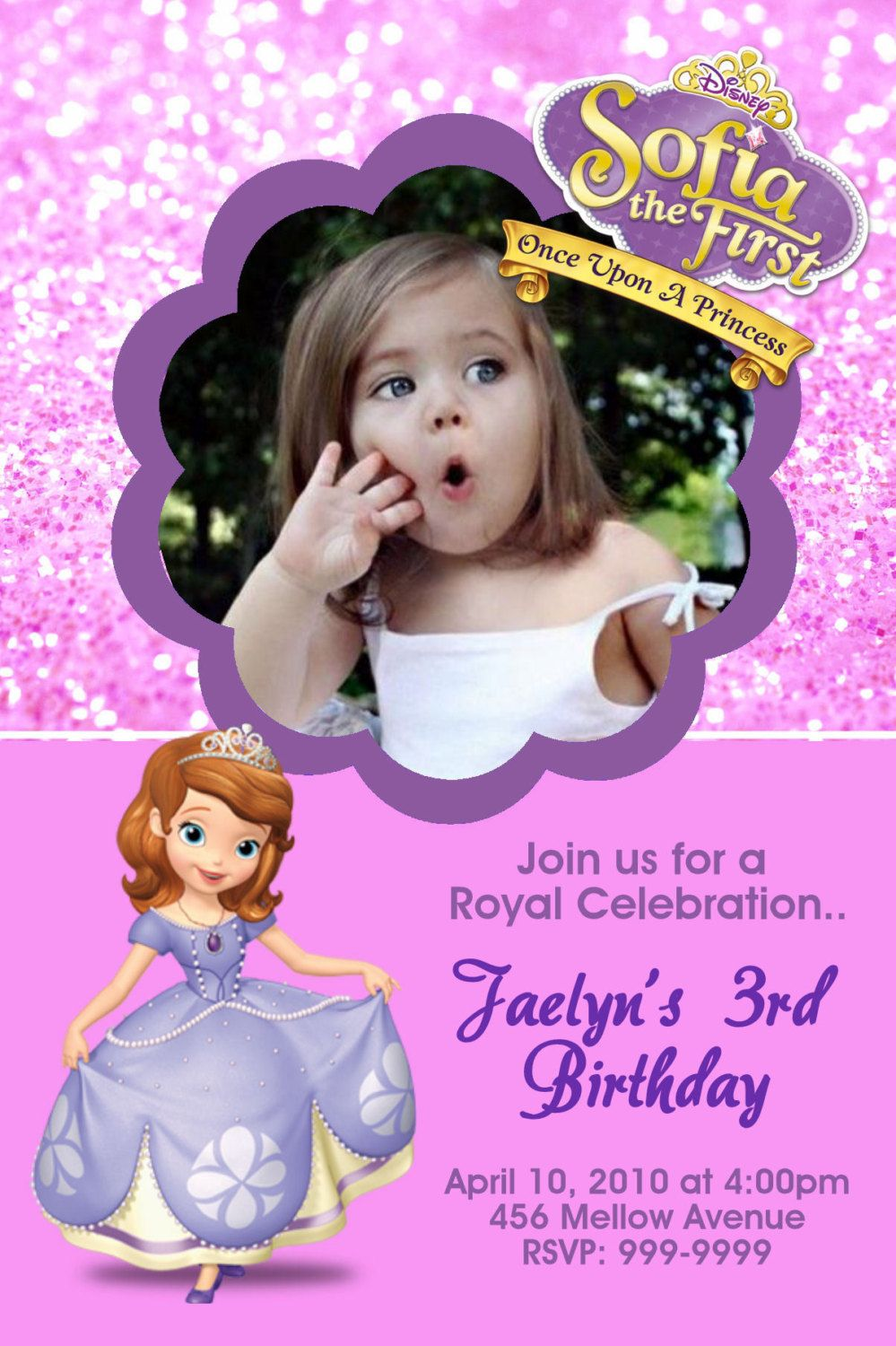 Sofia the First Birthday Party Invitations 24 HOUR by Mrsinvites