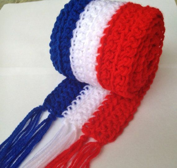 Last One! CLEARANCE French Flag Scarf with Fringe Hand Crocheted 5 ...