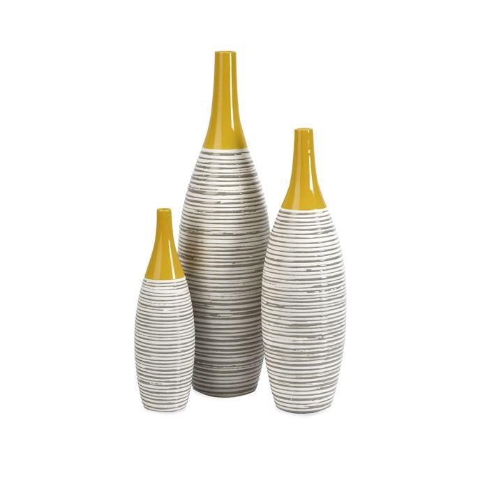 Mustard Ceramic Vases Set Of 3 Dotandbo Dotandbodream Dot