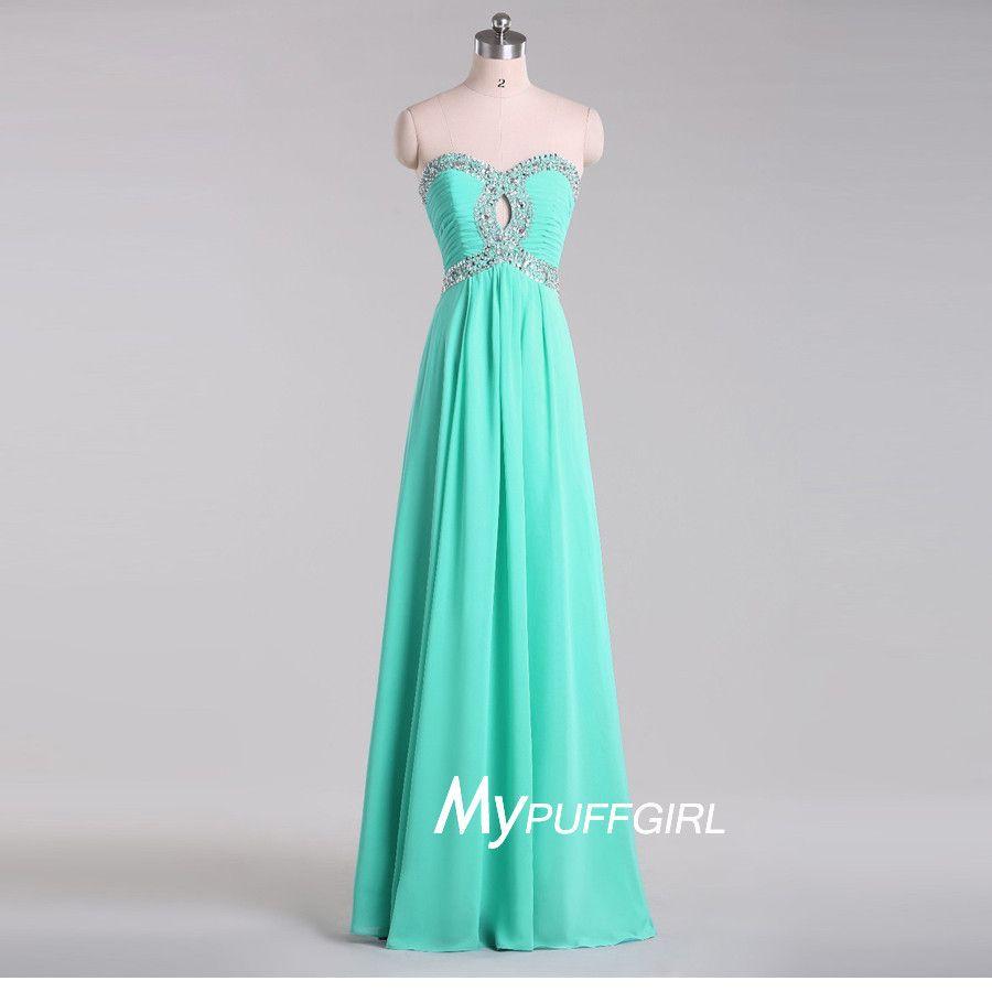Mint beaded sweetheart chiffon long prom dress with keyhole bodice