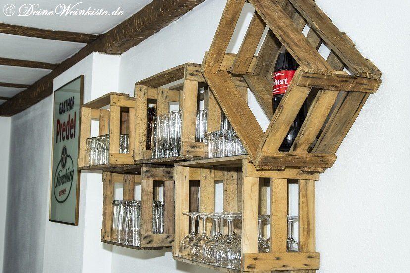 Sehr Regal für Gläser auf Weinkisten (mit Anti-Holzwurm-Wärmebehandlung ZR73