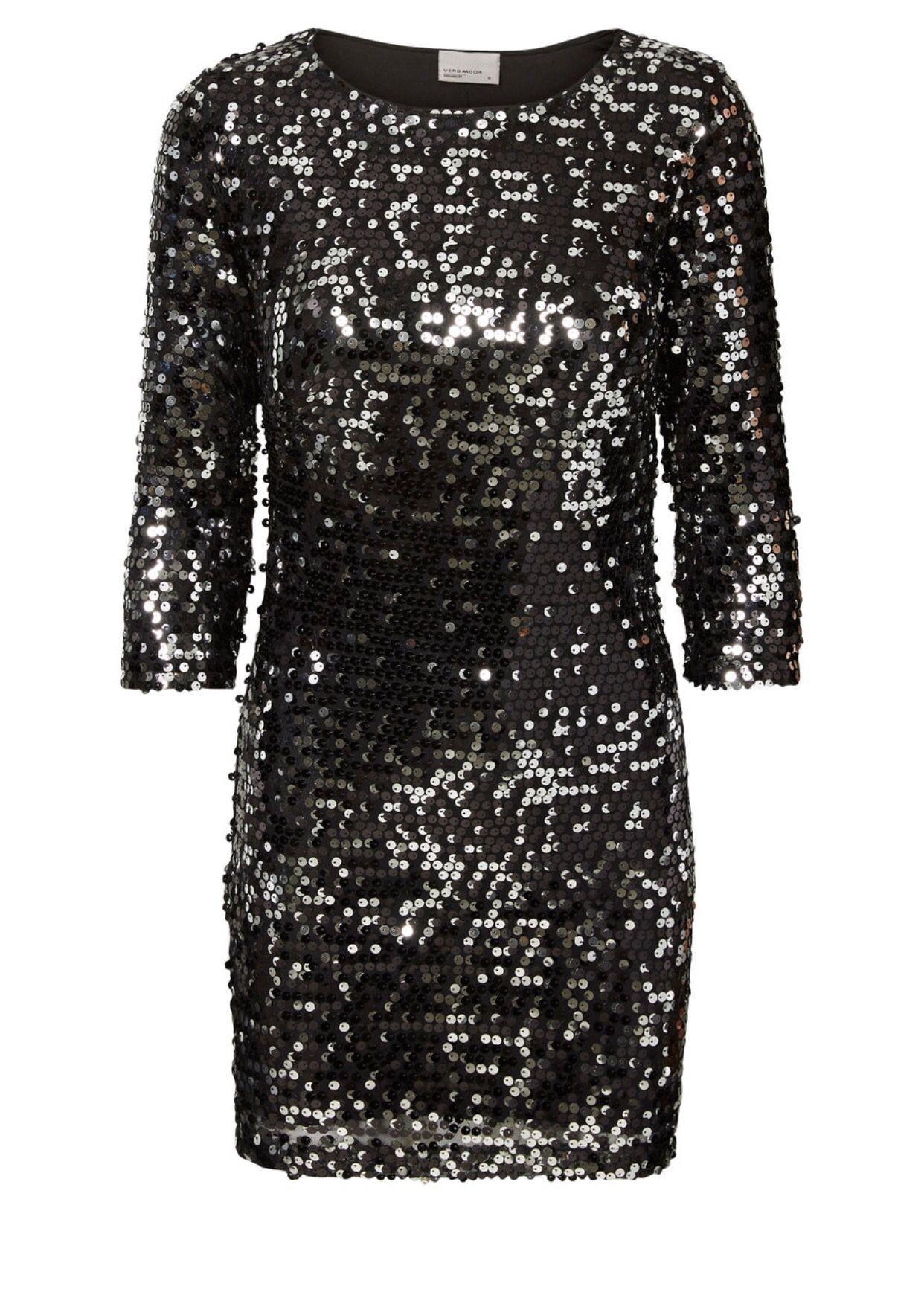 sort glitter kjole