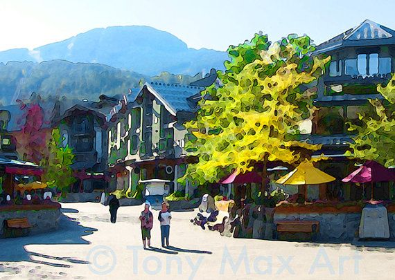 British Columbia, BC, Canada, western Canada, Whistler, tourism, ski village, European village, patio umbrellas, resort town, chalets