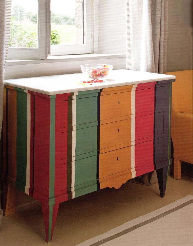 Boho Chic Striped Dresser With Chalk Paint ® By Annie Sloan   Paint +  Pattern