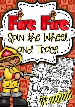 Fire Fire Word Work - Spin and Trace (Fire Safety Vocabula