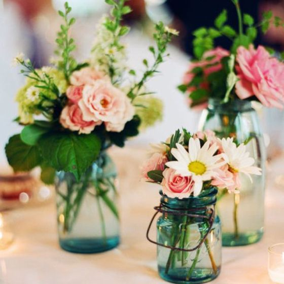 Mason Jar Centerpieces Ok, I´m Hooked For This Colours