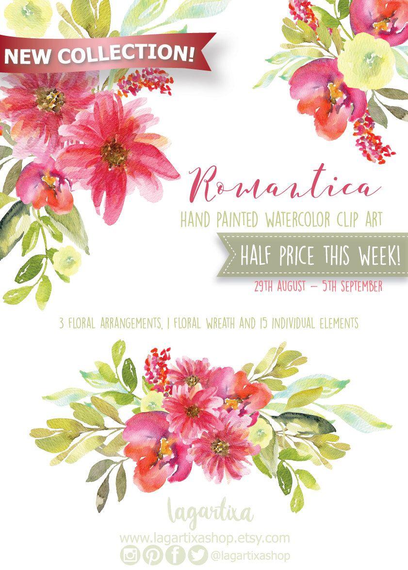 Watercolor clipart, Floral Frame PNG, wedding bouquet, arrangement ...