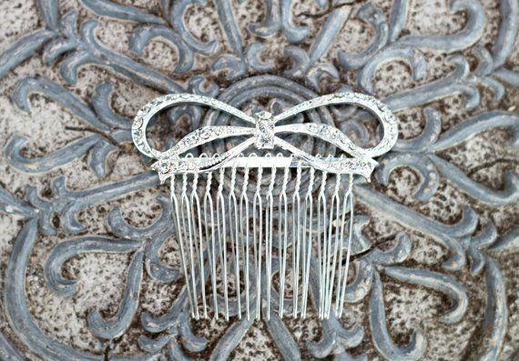 Swarovski Crystal Bridal Hair Comb, Silver Bow Hair Comb on Etsy, $59.00