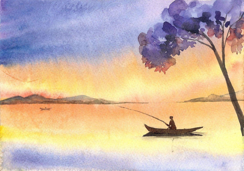 Original Handmade Still Lake Painting Sunset Watercolors Original ...