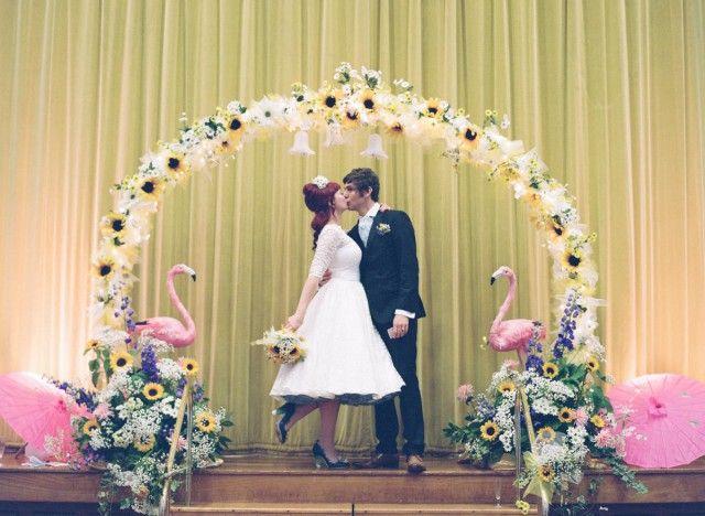 Sunflowers Flamingo Themed Retro Wedding 41
