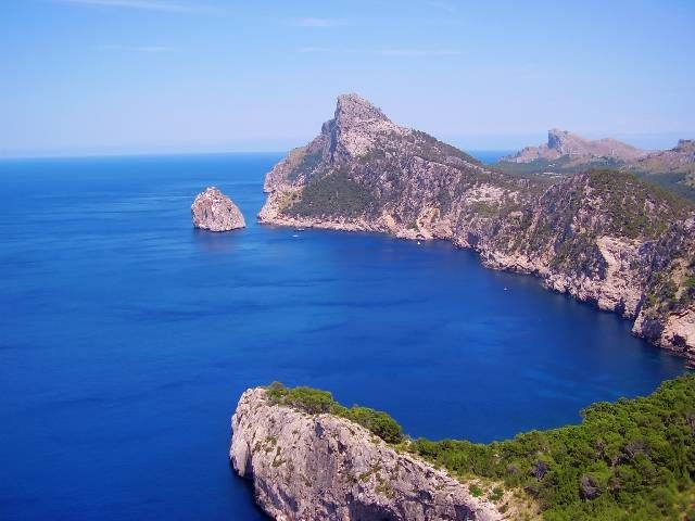 Cap Formentor, the very Northern tip of the island. Stunning views with vertical drops into the sea hundreds of feet below...and a hairy drive up there to boot!