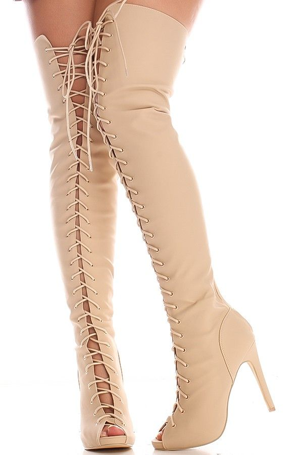 7ad9952d5d05 NUDE OPEN TOE LACE UP OVER THE KNEE HIGH HEEL BOOT