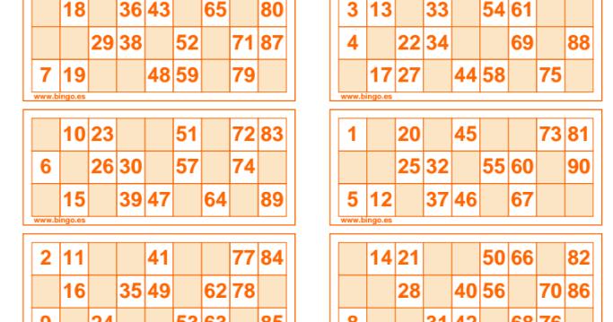 Cartones De Bingo Para Trabajar Los Números Hasta El 90 En Euskera Inglés Francés Castellano 60 Cartones Naranj Cartones De Bingo Jugar Al Bingo Bingo