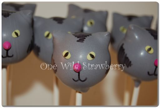 cat cake pops add whiskers with edible pen Cat cake