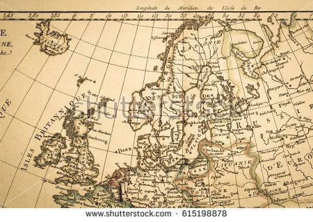 stock photo antique old map northern europe 615198878