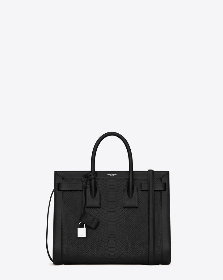 SAINT LAURENT CLASSIC SMALL SAC DE JOUR BAG IN BLACK PYTHON EMBOSSED LEATHER AND BLACK LEATHER