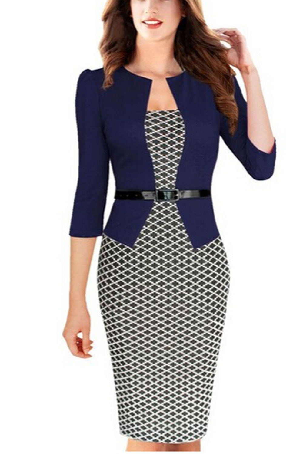 0887c7c72f16 Viwenni Women Colorblock V Neck Business Party Bodycon Dress at Amazon Women's  Clothing store: