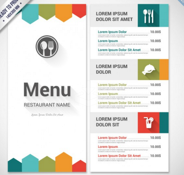 Colorful Menu Template Fh Graf Menu Template Templates