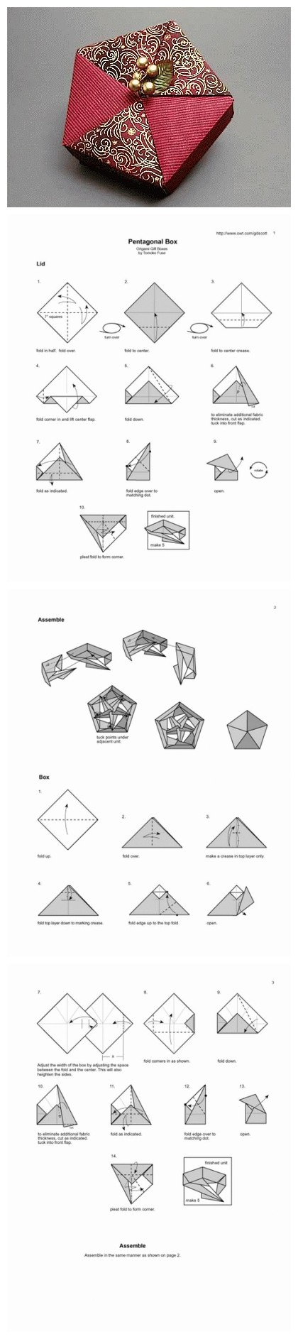 origami pentagonal box with instructions  [ 420 x 1886 Pixel ]