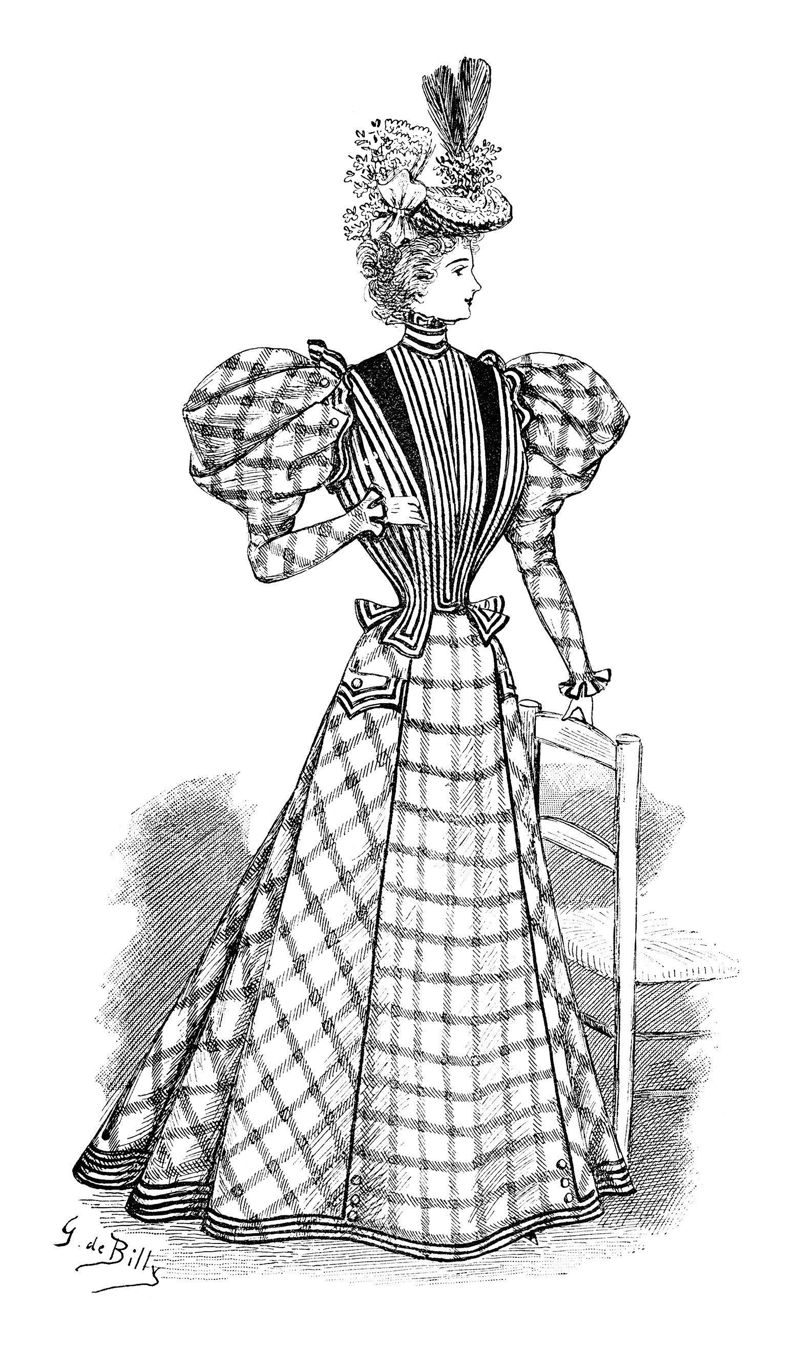 victorian lady clip art, black and white fashion clipart