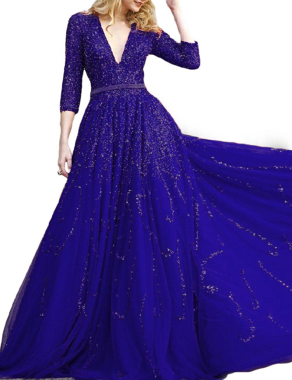 Promcc womenus long sleeve prom dresses vneck aline evening dress