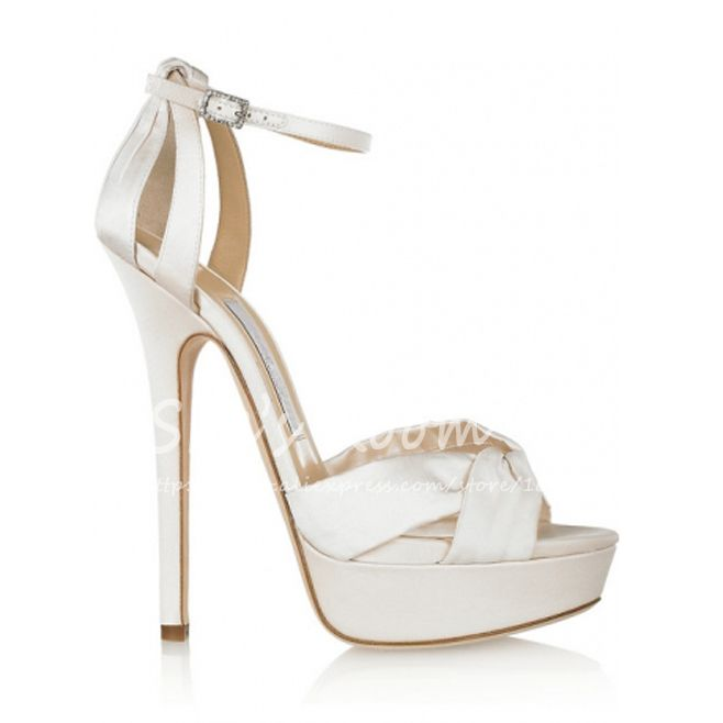 750450484f5 Wholesale brand fashion design ivory satin platform sandals ankle strap  sandals women high heel sandals fairy wedding shoes K027  85.99