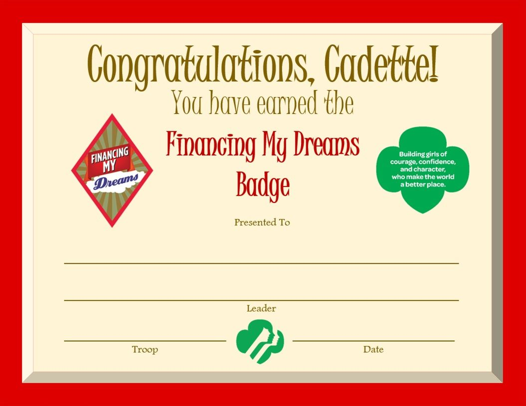 Other Girl Scout Collectibles Girl Scouts Cadette Badge Financing My Dreams Girl Scouts & Girl Guides