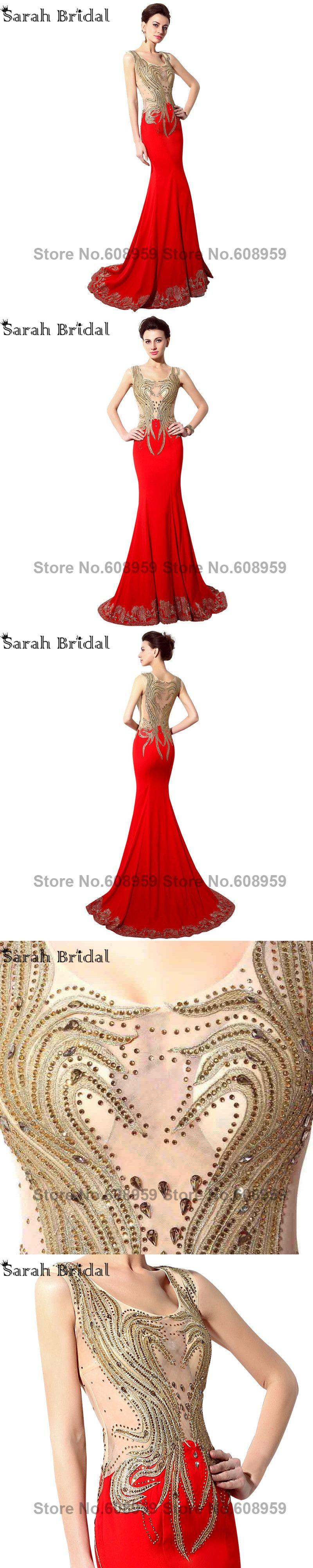 Arabic illusion gold crystal mermaid prom dresses sexy see through