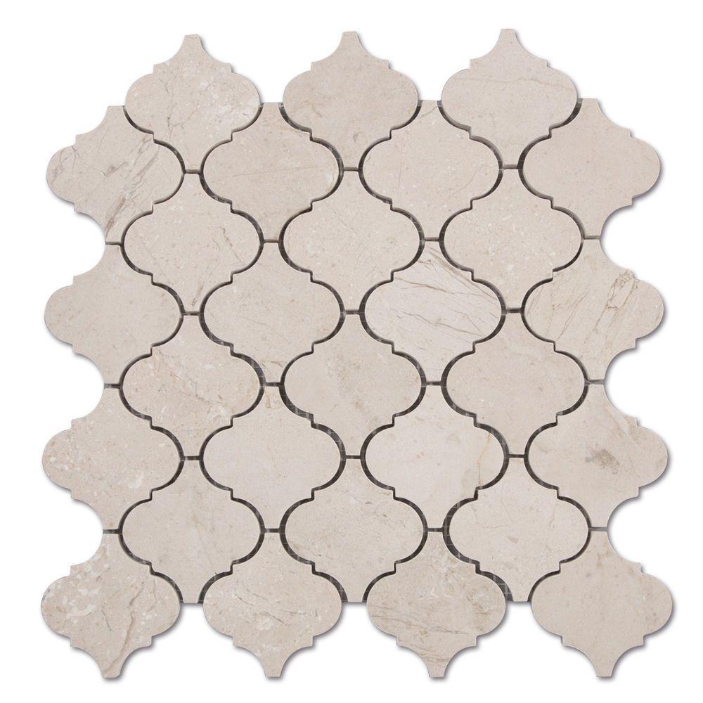 crema marfil marbl arabesque lantern mosaic tile beige kitchen