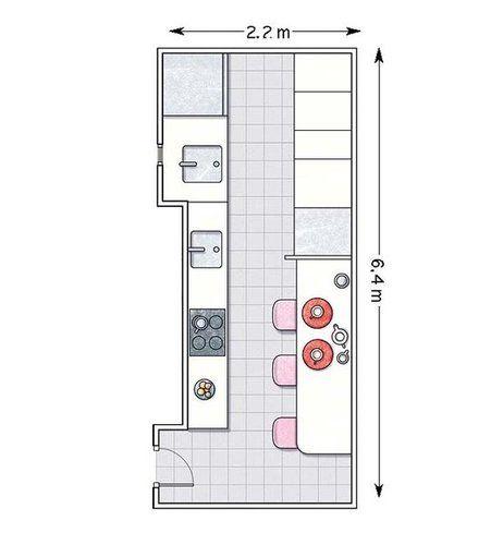Doce cocinas con barra y sus planos planos cocinas y - Distribucion casa alargada ...