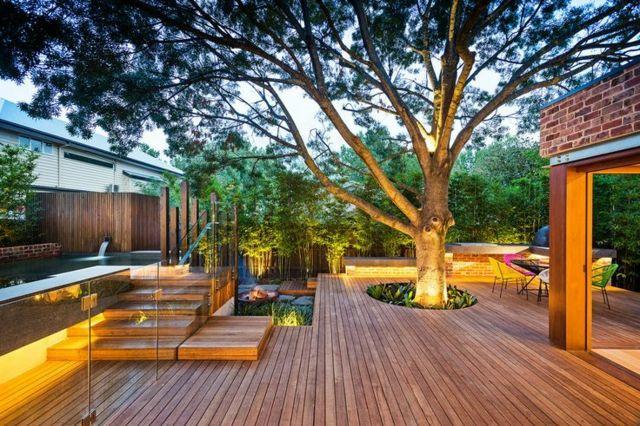 Terrasse Bambus Sichtschutz Sitzecke Garten Rasenfläche habitation