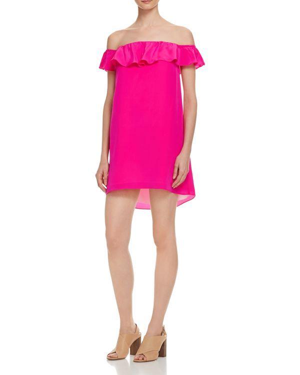Amanda Uprichard Joanna Off The Shoulder Dress | Hot pink