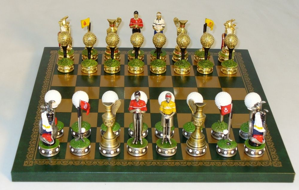Chess sets from The Chess Piece chess set store: Royal Chess Golf themed Pewter Chess Set, Themed Chess Sets