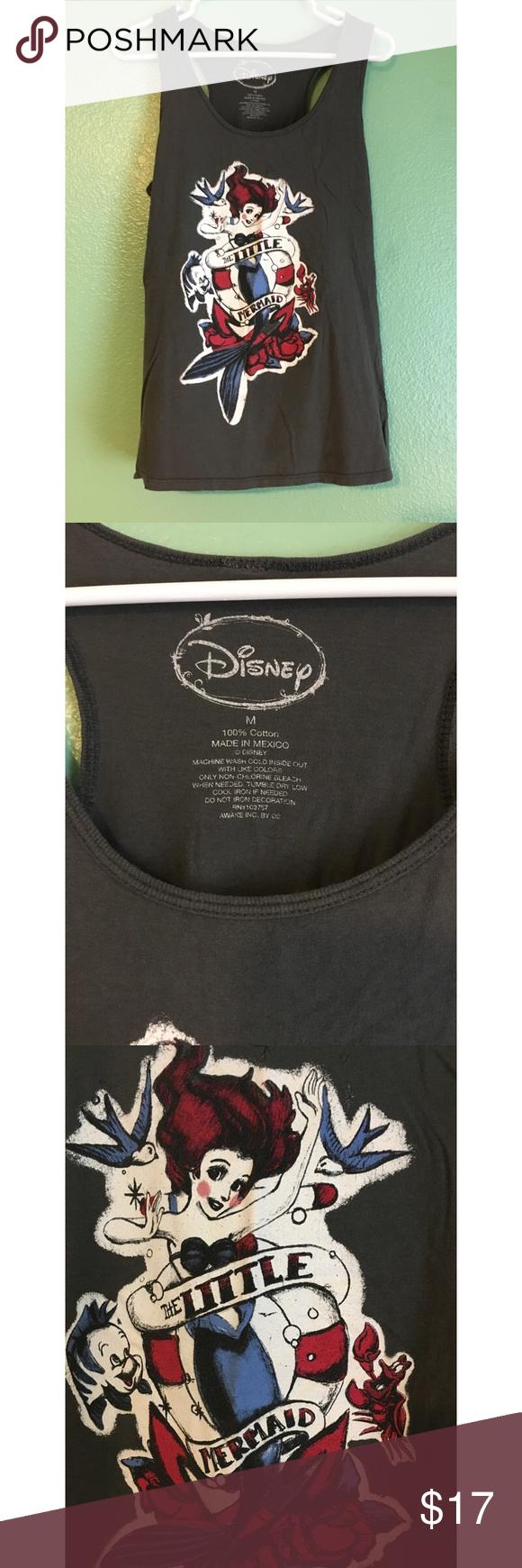 Disney little mermaid tank top American traditional Ariel print • gray tank top • good condition • hot topic brand Disney Tops Tank Tops