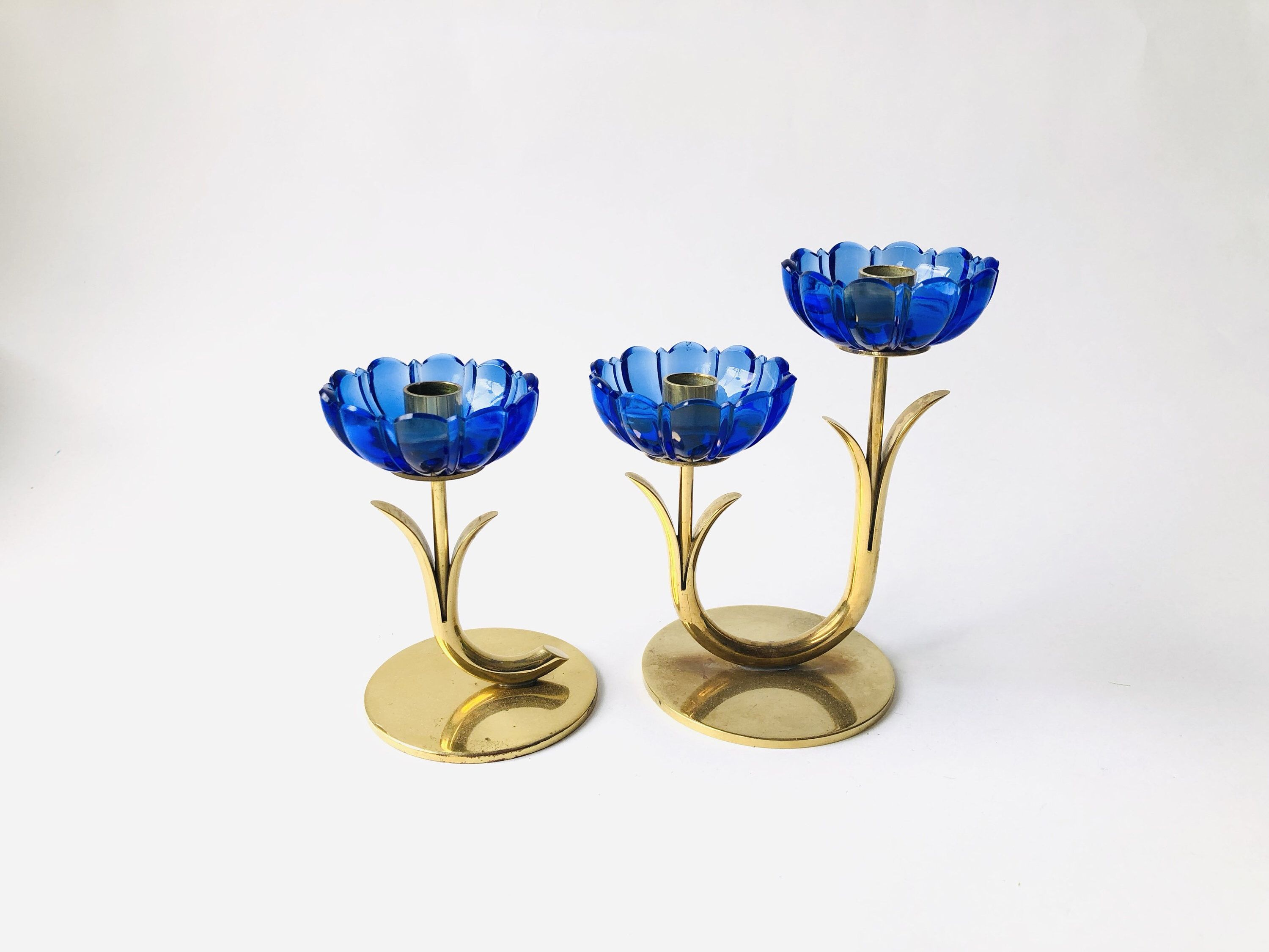 Scandinavian Candle Holder Lily Brass And Blue Clear Glass Etsy Scandinavian Candle Holders Candlesticks Modern Candle Holders