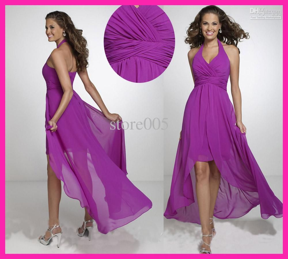 2013 Halter Purple Chiffon High Low Bridesmaid Dress