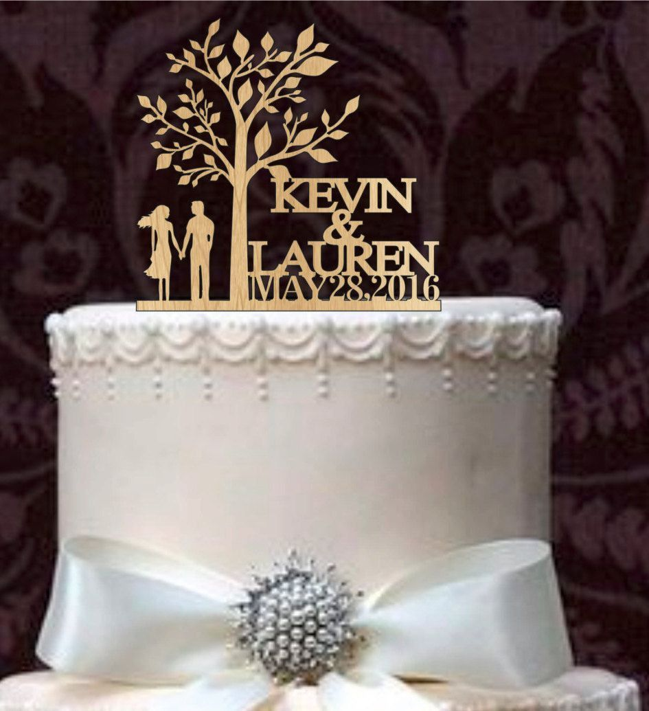 Personalized custom wedding cake topperrustic wedding cake topper