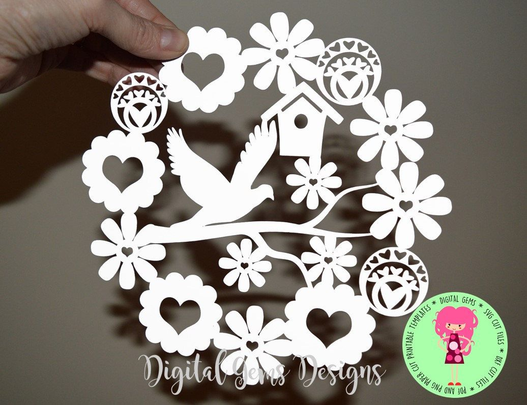 Dove And Flower Paper Cut Template, SVG / DXF Cutting File For ...